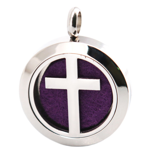 Clasic Cross 25mm Aromatherapy Essential Oil surgical Stainless Steel Necklace Perfume Diffuser Locket Include Chain and 100pcs Felt Pads