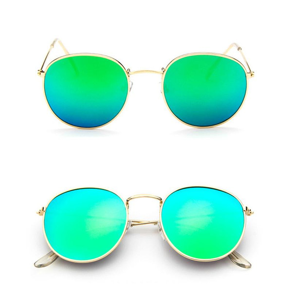 Men Women Luxury Brand Designer Sunglasses With Gold Flash Glass Lens For Bans Mirror Round Metal Unisex UV400 High Quality Sun Glasses