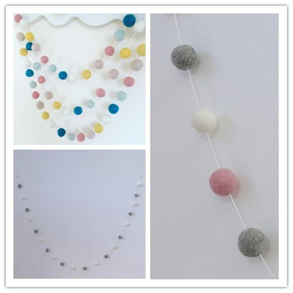 eClouds New 20PCS Wool Felt Ball Garland string Grey Pink White 3cm Wool Felt Balls strand Baby Kids Room Decorations