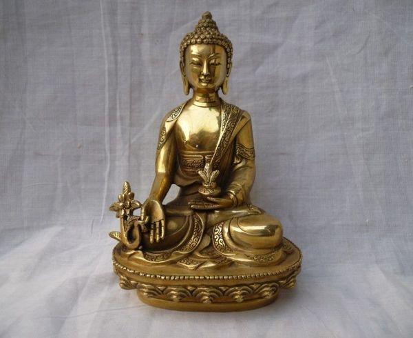 16 cm * / L'ancienne sculpture chinoise en cuivre plaqué or de Bouddha avait