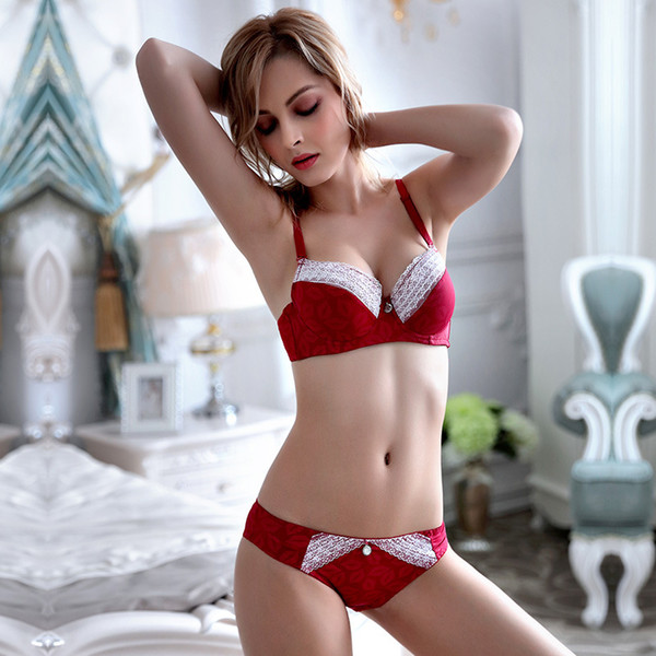 MOXIAN/ adjustable women's underwear Factory direct sales of new thick section of the bra set lace fabric Sexy charming new A/B/C cup 2059