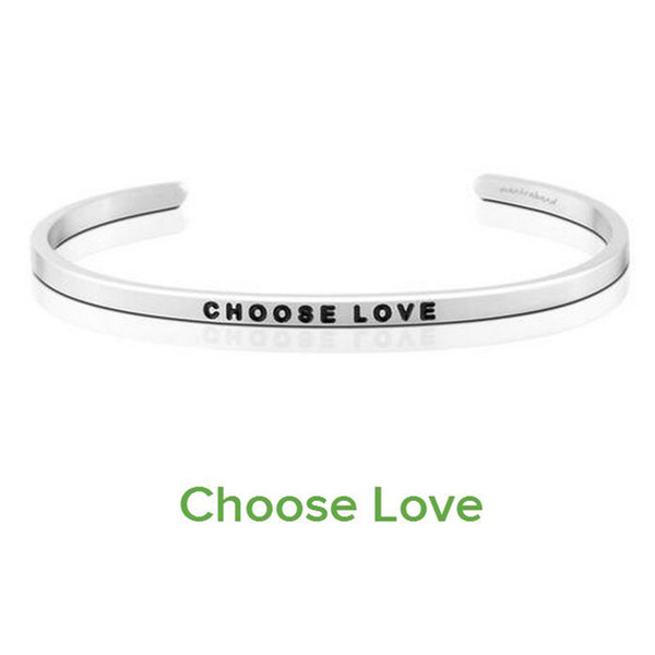 New Silver Stainless Steel Engraved CHOOSE LOVE Inspirational Hand Stamped Cuff Bracelet Bangle For Women Best Gifts