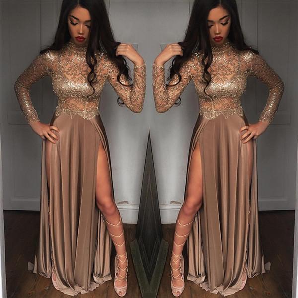 babyonline / 2k19 New Black Girls Sparkling Sequined Sheer Long Sleeves Prom Dresses High Neck Split Formal Party Evening Gowns BA6620