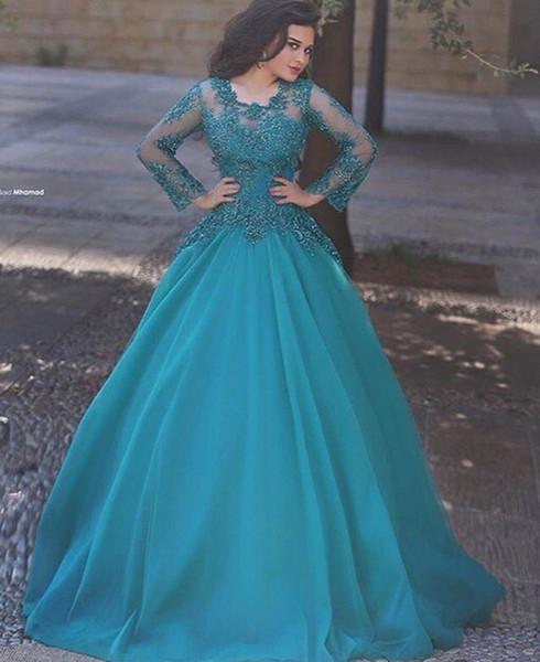 2017 Sexy Langarm Spitze Muslim Abendkleider Party für Frauen Chiffon Dubai Türkische Arabische Formale Bodenlangen Abendkleider Kleider