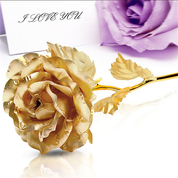 Artificial Golden Rose 24CM Handcrafted Handmade 24k Gold Foil Rose Flower Dipped Long Stem Lovers regalo de boda Color al azar