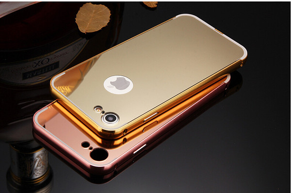 Luxury Mirror Phone Cases For iphone 7 Case For iphone 6 6S 6Plus 7plus Fashion Electroplating Hard Metal Frame Back Cover