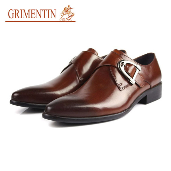 GRIMENTIN Fashion Italian designer men dress shoes oxfords genuine Leather 2 colors buckle luxury brand formal business wedding male shoes