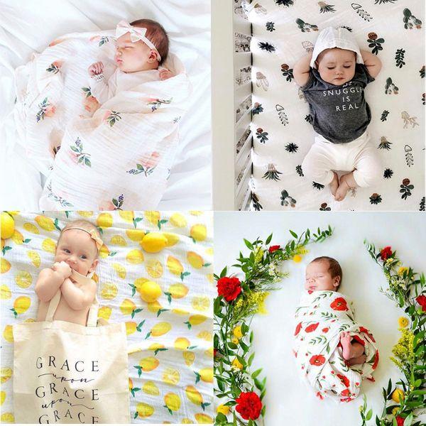 22 Style INS Baby Boy Girls Fox fenicottero Coperte per bambini Nursery Biancheria da letto Cartoon lemon Watermelon Stampa Soft Swaddling Infant Wrapping B001