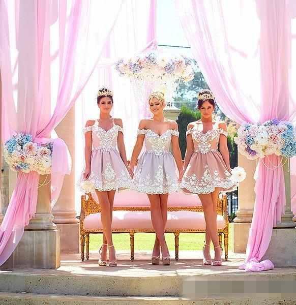 Compre Vestidos De Dama De Honor Cortos De La Princesa 2017 Para La ...