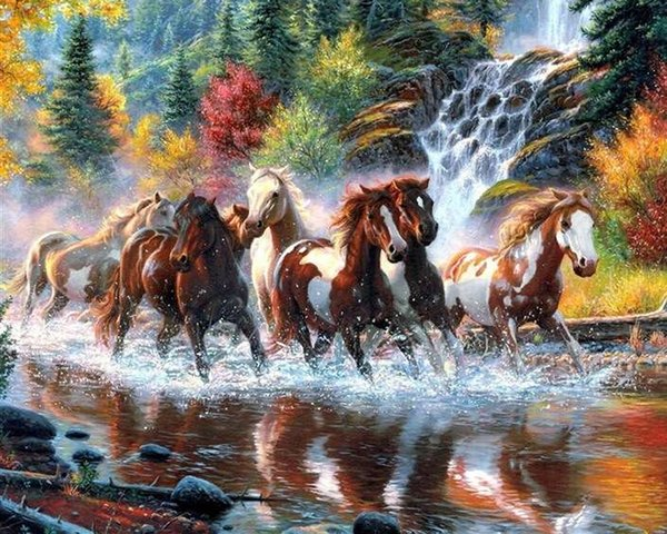 landscape Horses waterfall DIY Diamond Painting Embroidery 5D Cross Stitch Crystal Square Home Bedroom Wall Art Decoration Decor Craft Gift
