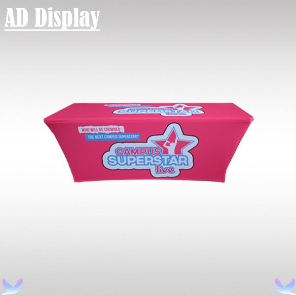 Professional High Quality Trade Show 6ft Spandex Stretch Table Throw Printing,Exhibition Tension Fabric Full Color Table Cloth Printing