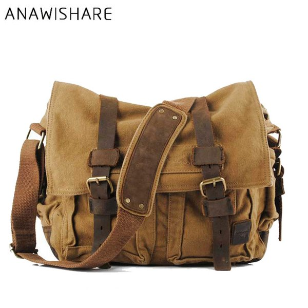 crossbody men ANAWISHARE Canvas Leather Crossbody Men Military Army Vintage Messenger Bags Large Shoulder Bag Travel Bags I AM LEGEND