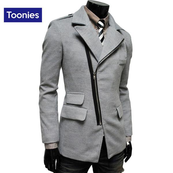 All'ingrosso-Abbigliamento da uomo di marca 2016 tendenza invernale cappotto irregolare tasca cerniera obliqua bavero uomo cappotto di lana 4 colori giacca medio lungo