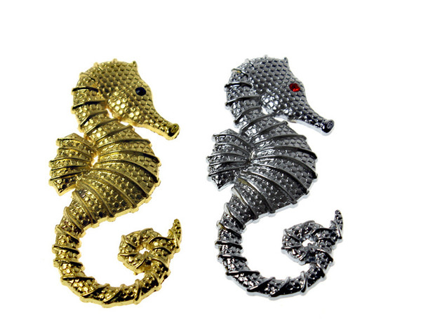 2pieces metal emblem badge hippocampus pattern Silver/gold colors for all car makers DIY Decoration