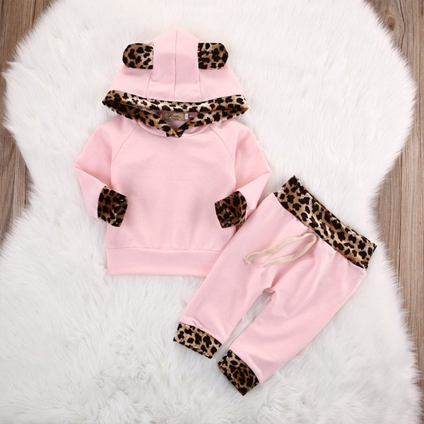 INS Christmas Baby Set Pink Leopard Printed Hooded 2PCS Set Infant Newborn Long Sleeves T-shirts Pants Leggings Kids Baby Clothes 182