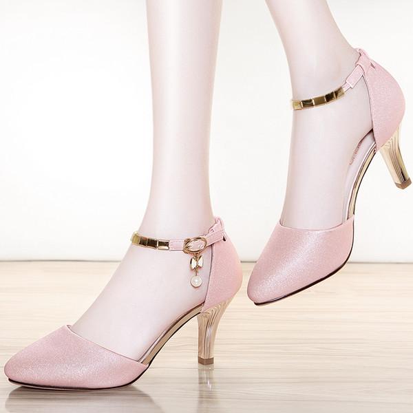 Hundertjährige Perle mit eingelegten Metallschnallen Damen-Singles Schuhe mit chedded Frauen-Singles Schuhe Damenschuhe