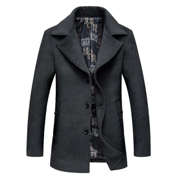 Großhandels-Männer Wolle Jacken Mantel Plus Größe 6XL Frühling Herbst Marke Männer Manteau Homme Woolen Jacken und Mäntel Herren Warm Wolle Mantel