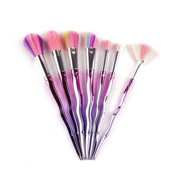 Pro 7 Thread Rainbow Handle Makeup Brushes Set Mermaid Blush Contour Foundation Powder Cosmetic Make up Brushes Kit Wholesale 3001040