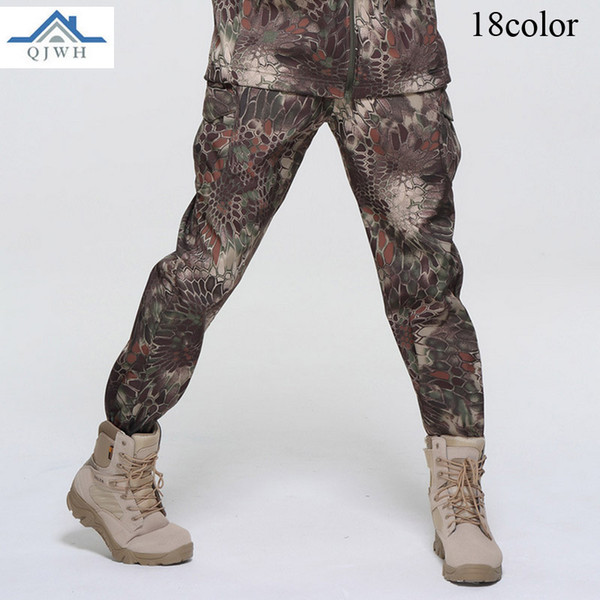 2017 winter outdoor men fleece soft shell sweat waterproof breathable tad tactical army baggy camouflage pants men thumbnail
