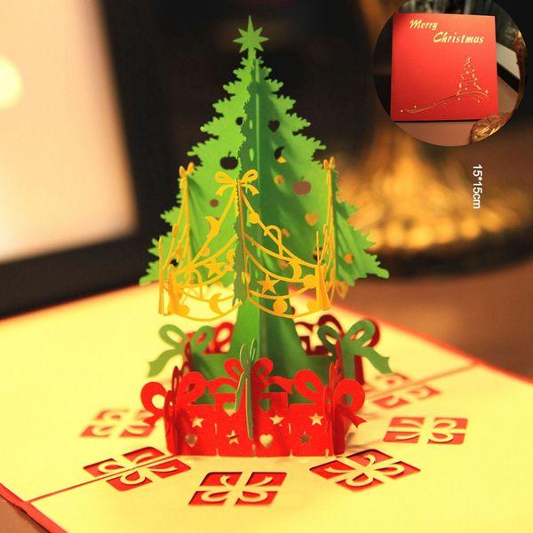 merry christmas tree vintage 3d laser cut pop up paper handmade custom greeting cards christmas gifts - Custom Greeting Cards Online
