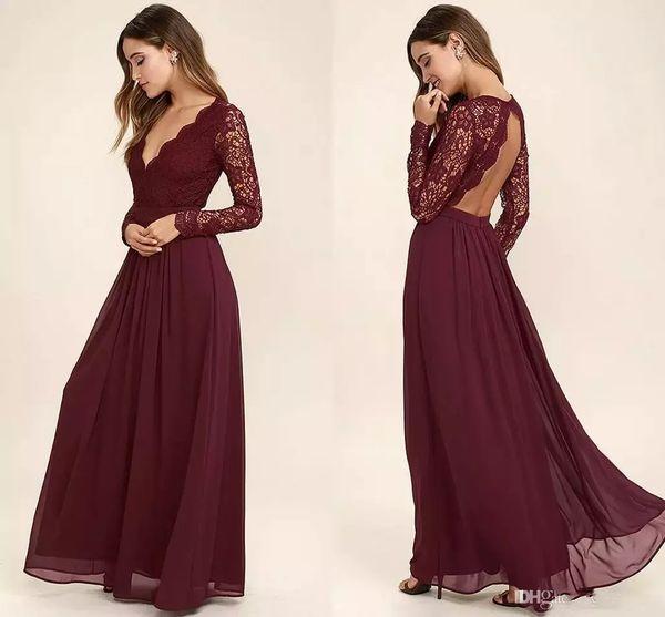 2017 Bordo Dantel Şifon Gelinlik Modelleri Uzun Kollu Batı Ülke Stil V Yaka Backless Uzun Plaj Düğün Elbiseleri Ucuz