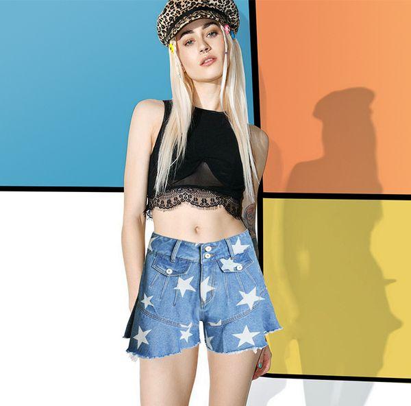Boyfriend Jeans 2017 Summer Shorts Women Cotton Denim lotus leaf Fish Tail Shorts Skirts Star Printed Blue Wide Leg High Waist Jeans Shorts