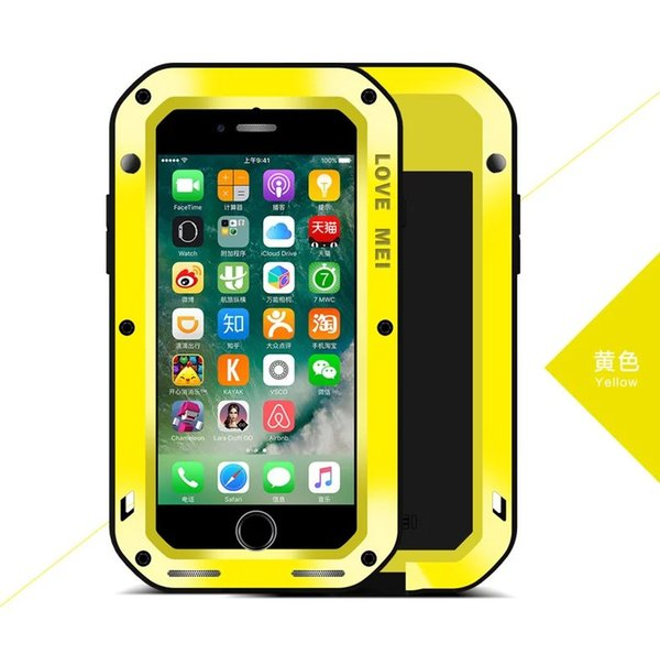 """Love MEI Shockproof Waterproof Dust / Snow Proof Aluminum Metal Case Gorilla Glass Heavy Protection Case Cover for Apple iPhone 7 4.7 """""""