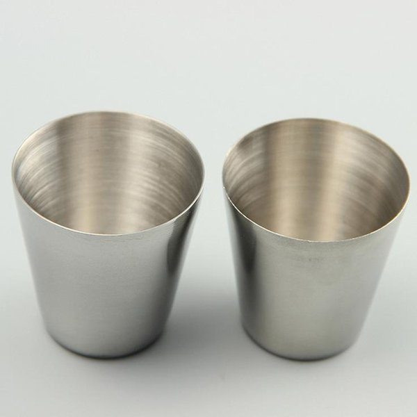 Wholesale-30ml Portable Stainless Steel Shot Glasses Barware Beer Wine Drinking Glass Outdoors Cup JF-073