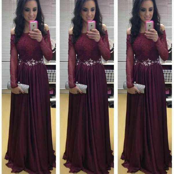 2017 Wine Red Prom Dresses Long Sleeve Appliqued Lace A Line Formal ...