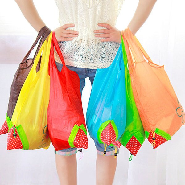 best selling Nylon Portable Creative Strawberry Foldable bag gift shopping Reusable Environmental Protection Pouch Eco-Friendly Shopping Bags wholesale