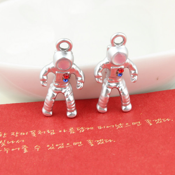 20PCS, silver plated robot charm pendant, 13x25mm, jewelry findings