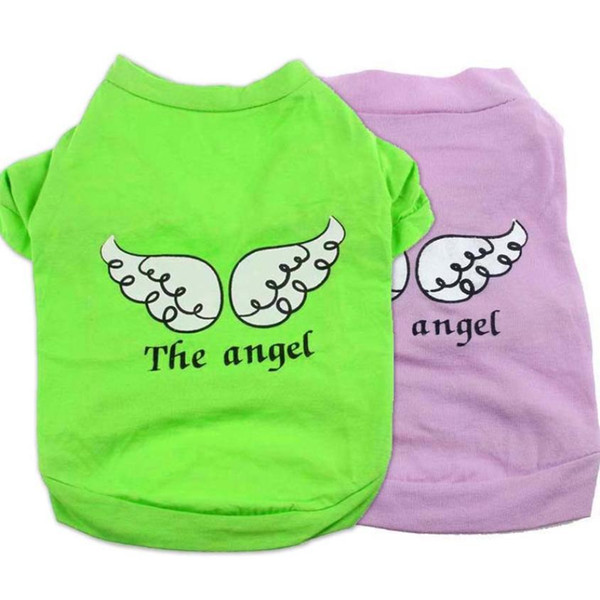 2017 Hot selling Cute Pet Puppy Dog Clothes Green and Red Angel Wing Pattern T-shirt Shirt Tops Hondenkleding Summer Dog Clothes
