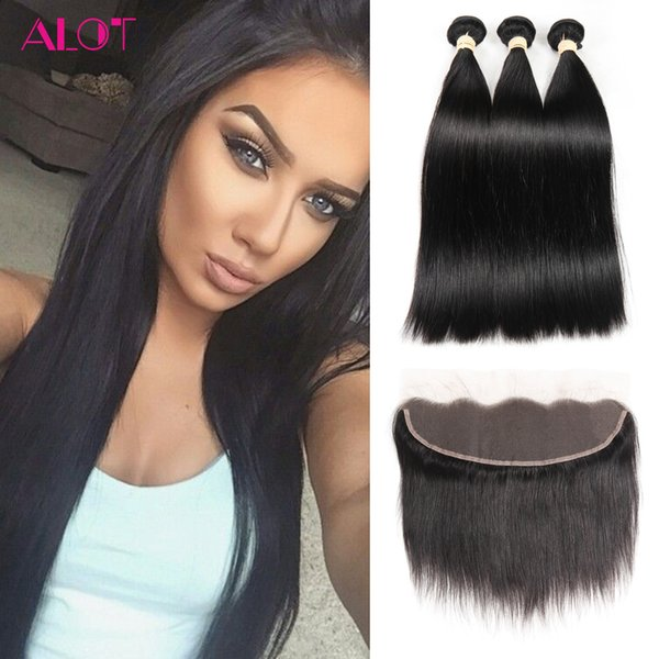 Peruvian Hair Bundles with Frontal Natural Color Straight Hair Weaves 13x4 Lace Frontal with Bundles 3Pcs Cheap Hair Extensions