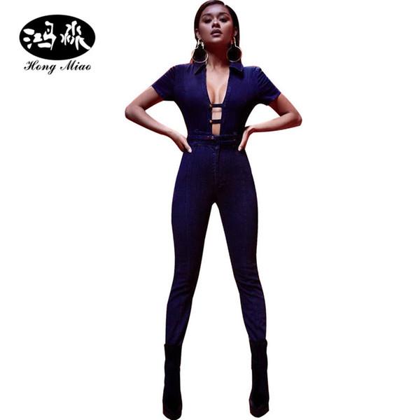 Wholesale- women jeans sexy jumpsuit Denim Rompers Bandage Hollow sash Front tie up blue jean deep V neck bodysuit skinny Jumpsuits womens
