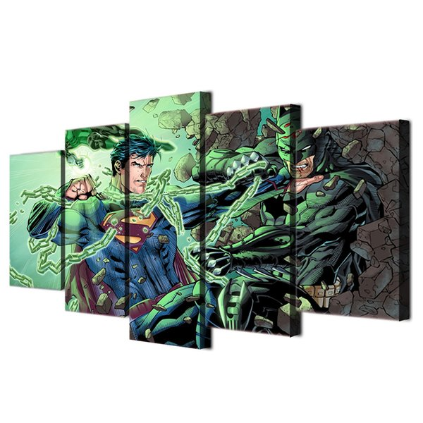Satın Al 5 Adet Takım çerçeveli Hd Baskılı Superman Batman Savaş