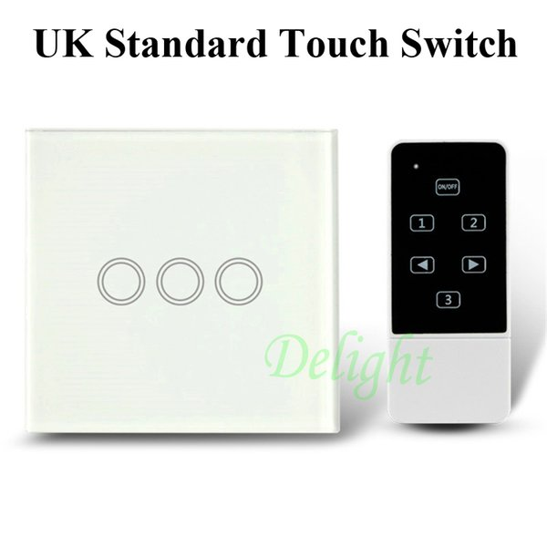 Wholesale-UK 3Gang Smart Home Automation Touch Wall Switch Crystal Glass Panel Touch Electrical Wall Light Switches With Remote Controller