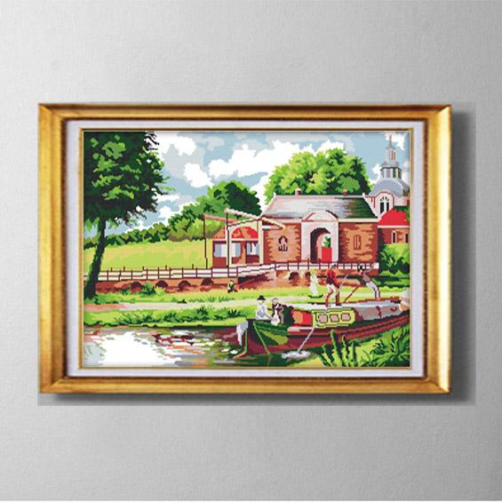 Riverside scenery Vietnam house, handmade Cross Stitch embroidery needlework Set, DIY painting counted printed on fabric DMC 11CT 14CT kits