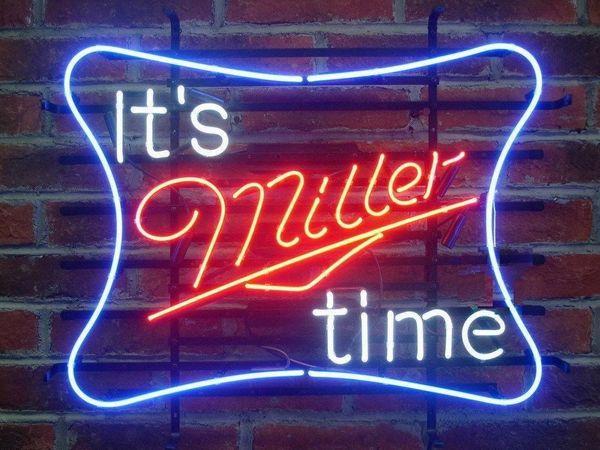 "17""x14"" It's Miller Time Miller Lite True Glass Tube BEER BAR PUB CLUB CUSTOM NEON LIGHT SIGN WALL LIGHTING"