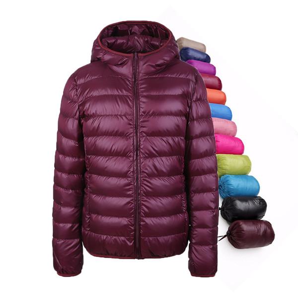 Großhandel Winter Damen Daunenjacke Ultra Light Down Schnee Mantel Mit Kapuze 90% Weiße Ente Daunenjacken Für Frauen Dünne Feder Jacke Camperas Von
