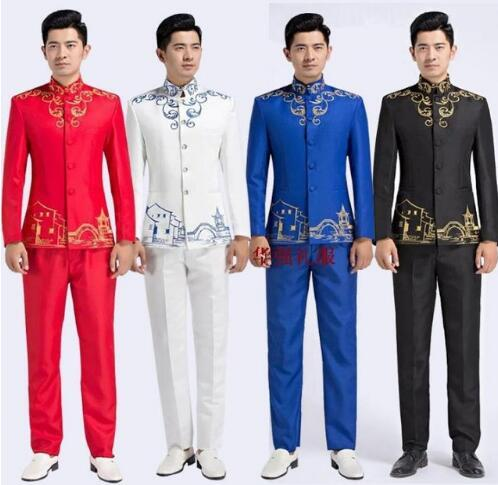 Watch ! Blazer men formal dress latest coat pant designs suit men chinese tunic suit stand collar marriage wedding suits for men's 123