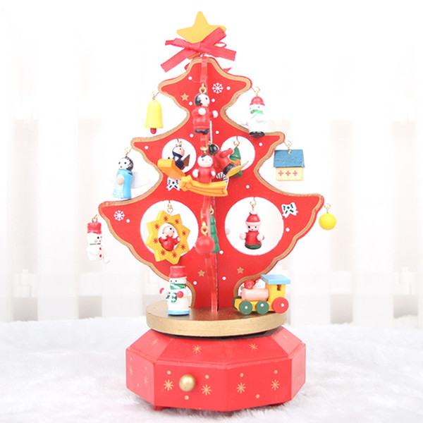 The music box rotating wooden Christmas tree Christmas tree tree Music Festival gift Christmas gift