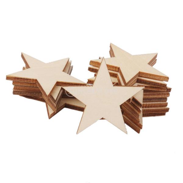 Al por mayor - SUNTEK 3 mm en forma de estrella gruesa de madera adornos para manualidades de bricolaje 25pcs 50 mm envío gratis