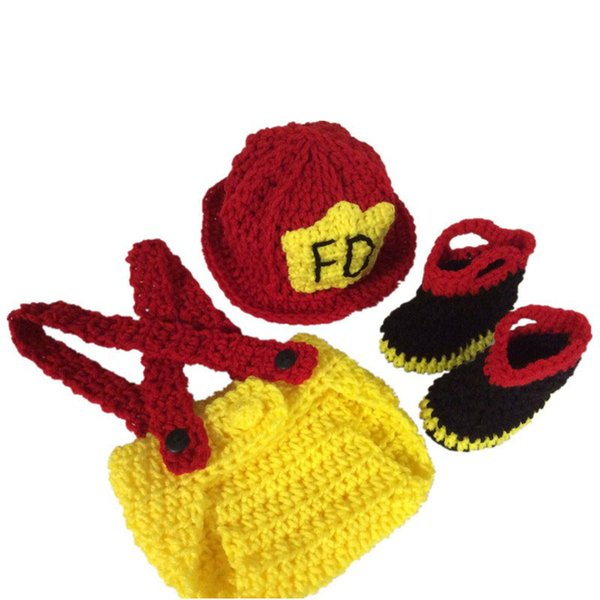 Novedad traje de bombero recién nacido, hecho a mano de punto Crochet Baby Boy Girl sombrero de gorro Beanie HatDiaper CoverBoots Set, Toddler Photography Prop
