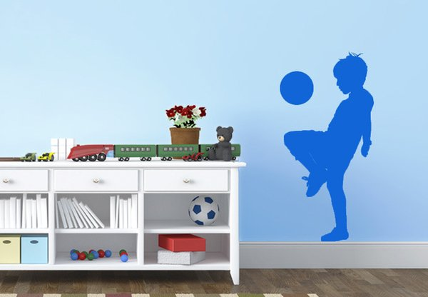 Boy Playing Soccer Creative Wall Stickers Football Kids Wallstickers For Children Room Decoration