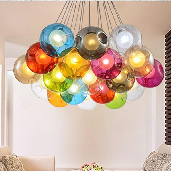 Bola de cristal colorida lámpara de la lámpara G4 LED 3 ~ 31 cabezas de esferas de vidrio luz moderna Color de la burbuja LED arañas de cristal para sala de estar