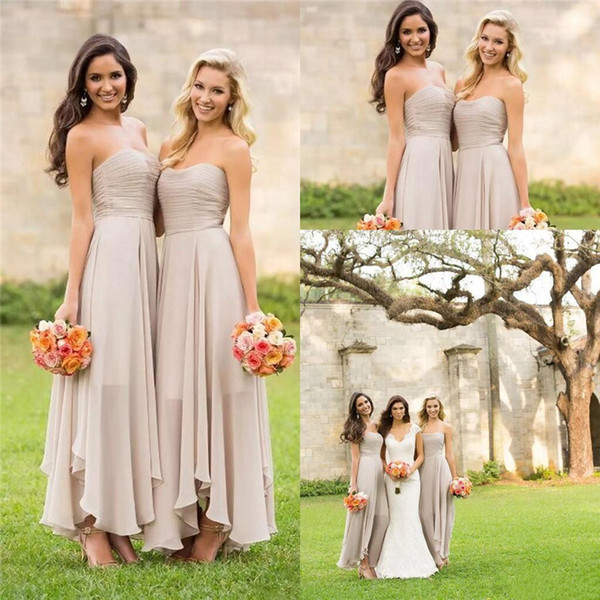 Wedding Party Guest Dresses Wear Strapless Cheap Chiffon Ruched Bridesmaid 2017 Summer A Line Backless Maid Of Honor Gowns Formal