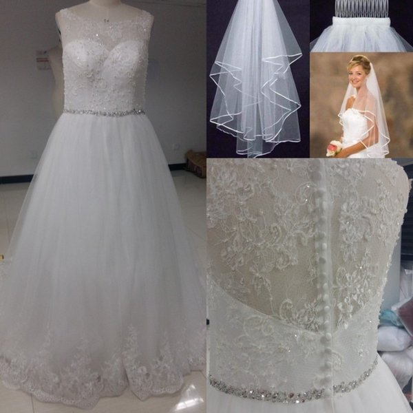 2017 Lace A-Line Vintage Wedding Dresses Arabic Beads Pearls Bridal Gown Zipper And Button Plus Size Wedding Dresses With Free Veil