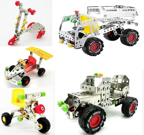 Kids Blocks Toys Metal Building Blocks Toys Assemblage Metal Construction Vehicle Toy Box Packing Fingertips Model Souptoys