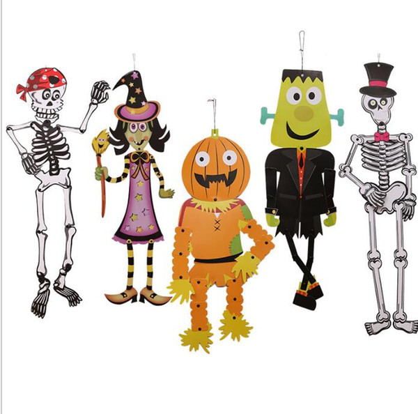 Compre Aderecos De Halloween Pendurado Papel Decoracao Implacavel Diy Esqueleto Zombie Witch Decoracao Ao Ar Livre Decoracao De Halloween Acessorios