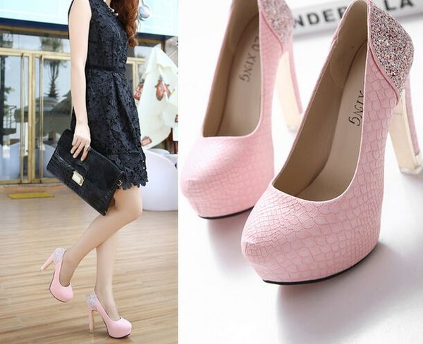 New Arrival Hot Sale Specials Sweet Good Quality Leather Noble Show Super Sequins Scale Nightclub Stiletto Heel Single Shoes EU34-39